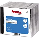 Hama CD-Doppel-Leerhülle, Standard, 10er-Pack, transparent/schwarz