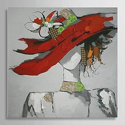 Pintados a mano de pintura al óleo personas bella niña con gorro rojo con estructura alargado