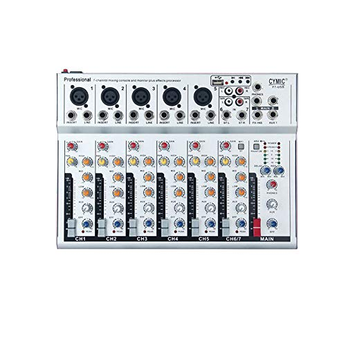 Yiwa Live-Mischpulte Studio-Grade Stereo FX, F7-USB 7 Kanäle Mic Line Audio Mixer Mischpult für Karaoke KTV Match Party EU-Stecker
