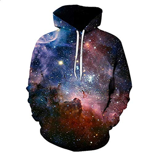 Sweatshirts Hooded Men/Women Hoodies with Hat Print Star Autumn Winter Loose Thin Nebula Hoody Tops WEIYI-053 XXL -