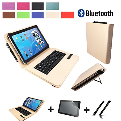 3in1 Starter set für Archos Diamond Tab (2017) Bluetooth Tastatur Hülle | Schutz Folie| Touch Pen | 10.1 Zoll Beige Bluetooth 3in1
