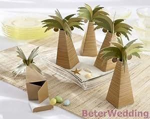 lot de 12 boites a dragees cocotier palmier theme les iles