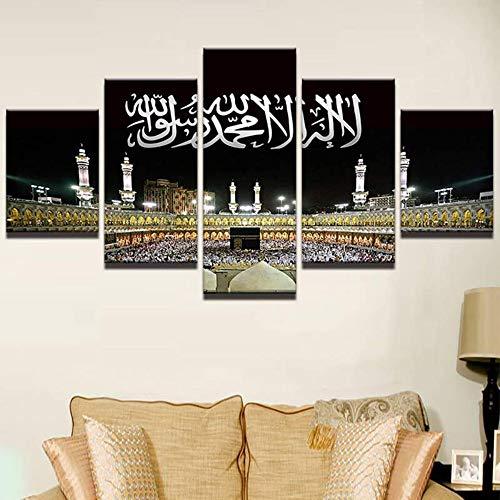 Meaosy Wandkunst Bilder Wohnkultur Moderne Hd Drucke 5 Panel Islamischen Moschee Schloss Malerei Allah Der Koran Leinwand Poster -40X60/80/100Cm