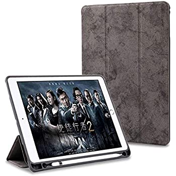 """ProElite PU Smart Flip Case Cover for Apple iPad Air 3 10.5"""" with Pencil Holder, Grey"""