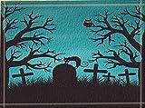 SRJ2018 Eine Schwarze Katze ruht auf Einem Stein auf Einem grasigen Friedhof. Super saugfähige, Rutschfeste Matte oder Fußmatte, weich und bequem