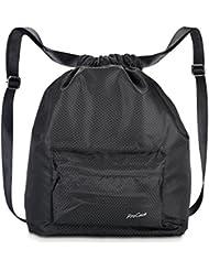 ProCase Bolso de Gimnasia Resistente al Agua, Quality Drawstring Mochila Unisex Sports Bag para la Natación, el Surf, la Primavera Caliente, el Viajar, el ir de Excursión y el Acampar -Negro