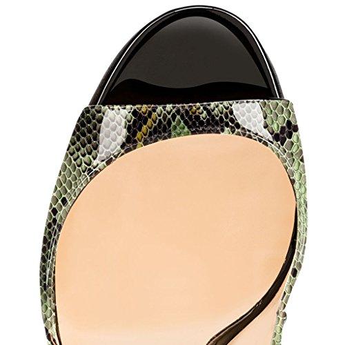 EDEFS Damenschuhe 120mm Peep Toe Slingback High Heels Sandalen mit Schnalle Öffnen Zehe Stiletto Schuhe Python-Grun