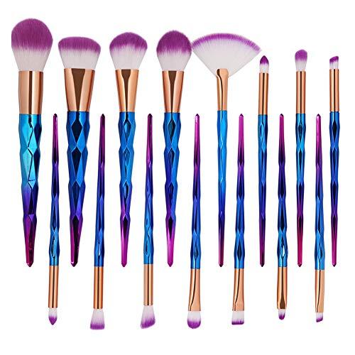 Cdet. 15Pcs Kit De Pinceau Maquillage en Visage avec Manche en Plastique Cosmétiques Brush Ensemble Fondation Mélange Blush Yeux Poudre Brosse Make Up Style ondulé coloré