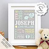 Personalised Cute Baby Elephant Print, New Baby Gift, Birth Details, Boy, Girl, Newborn Stats, Nursery Art Decor, Naming Day - Unframed or Framed Print by Strawberry Splendour