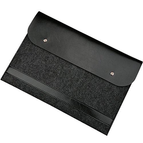EooCoo Laptop-Tasche, Filz, Mikrofaser Leder Hülle Ultrabook Laptop Tasche Filz Sleeve Speziell für Apple MacBook New Air/Pro 13 inch with Retina Disaply(A1932 A1989 A1706 A1708)- Black