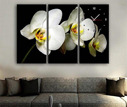 xiuxiandianju-3-pcs-creative-fleurs-blanches-avec-peintures-horloge-peinture-decorative-giclee-toile