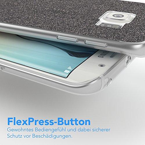 Samsung Galaxy S6 Edge Hülle - EAZY CASE Handyhülle - Ultra Slim Glitzer Schutzhülle aus Silikon in Anthrazit Glitzer Anthrazit