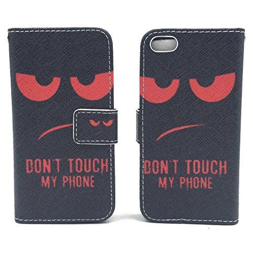 Handy Tasche Book Style Rahmen Flip Cover Case Schutz Hülle Etui Motiv Wallet, Für Handy:Apple iPhone 6 / 6s (4.7 Zoll), Motiv:MITTELFINGER DONT TOUCH MY PHONE ROT