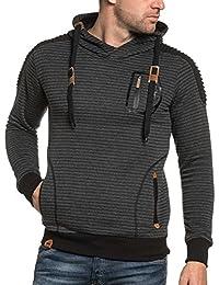 BLZ jeans - Sweat homme gris foncé à capuche et poches
