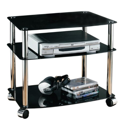 Premier Housewares Tv Unit 3 Tier With Black/wheels And Glass Shelves, Chrome Frame, 52 X 60 X 40 Cm