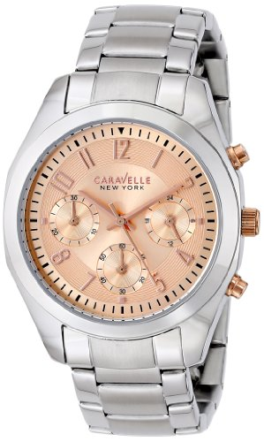 Caravelle by Bulova Women's Steel Bracelet & Case Quartz Pink Dial Chronograph Watch 45L143