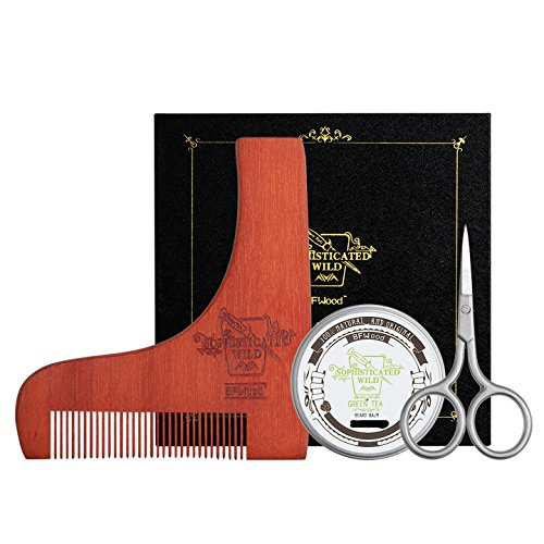 BFWood Tijeras de Barba y Peine a Juego – Tijeras Precisas de Bigote + Plantilla de Moldeado de Madera + Bálsamo de Barba 30g