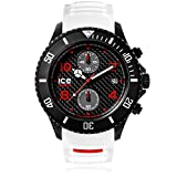 Ice-Watch - ICE carbon White Black - Weiße Herrenuhr mit Silikonarmband - Chrono - 001315 (Extra Large)