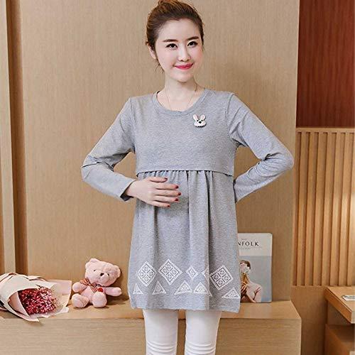 f6a7c9684 Peepheaven Maternity Nursing Dress Long Sleeve Breastfeeding Clothes for Pregnant  Women - GrayM