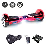 Cool&Fun 6.5' Hoverboard Patinete Eléctrico Scooter Talla LED 350W*2 (Chrome Red)