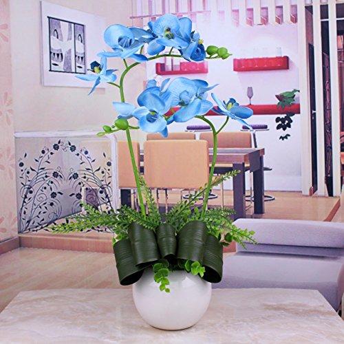 Llpxcc fiori artificiali creative home floreale tavolo da pranzo soggiorno moderno e semplice in stile europeo fiori decorativi orchidee e fiori finti arte natale blu