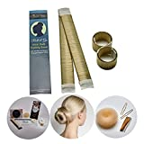 """ROLL & GO Dutt Hilfe Styling Set Inhalt: 2 Stuck Premium Qualität Hair Bun Maker + 1 Dutt Kissen Haar Donut + Zubehör Inklusive: Eine einfache """"Step by Step"""" ANLEITUNG mit Styling Ideen!(Blond)"""