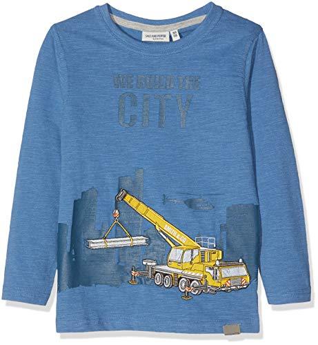 SALT AND PEPPER Jungen Longsleeve Road Works Appl Langarmshirt, Blau (Dutch Blue Melange 447), 128 -