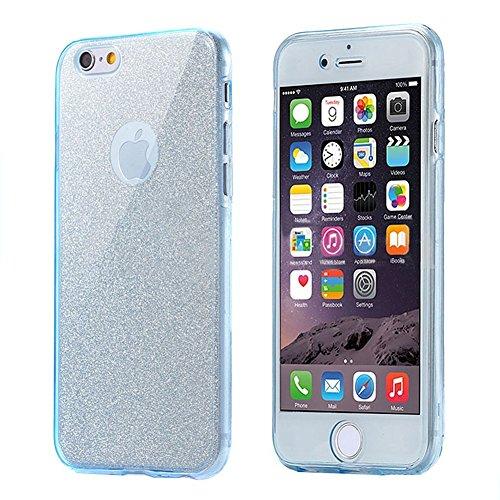 Custodia iPhone 5, Cover iPhone 5S, iPhone 5/5S/SE Custodia Silicone, JAWSEU Moda Stile Fiore Rosa Elegante Lusso Diamante Cristallo di Bling Custodia per iPhone 5 5S SE Protectiva Bumper Ultra Sottil Bling Blu