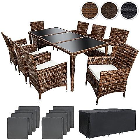 TecTake Conjunto muebles de jardín en aluminio y poly ratan 8+1 con set de fundas intercambiables + Protección contra lluvia - disponible en diferentes colores - (Marrón   No. 401162)