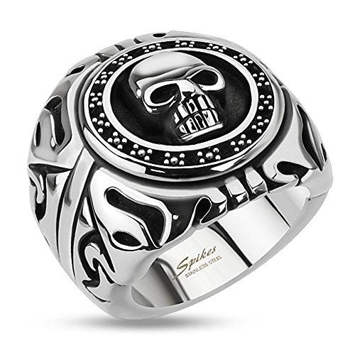 Bungsa 75 (23.9) Totenkopf Ring Herren Silber - Skull Fingerring für Männer - aus Edelstahl - gefasster TOTENSCHÄDEL Siegelring - Größen 60-75 - Extra groß & Massiv - Breiter Ring für Biker