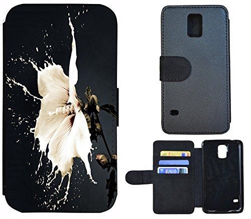 Flip Cover Schutz Hülle Handy Tasche Etui Case für (Apple iPhone 5 / 5s, 1103 London Big Ben England Rot Grau) 1097 Blume Flower Weiß Schwarz