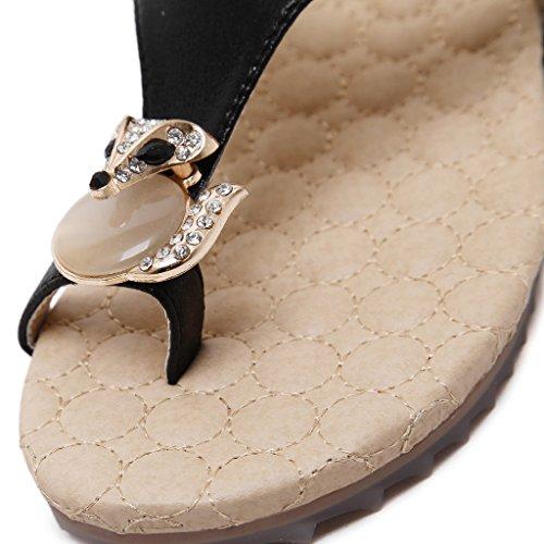 Fortunings JDS Donne strass costellata di volpe dellanello della punta del sandalo piatto pantofola Nero