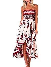 37e9a4ecd Vestido Playa Mujer Vintage Floreadas Moda Esencial Casual Vestido Boho Sin  Mangas Bandeau Sin Tirantes Irregular