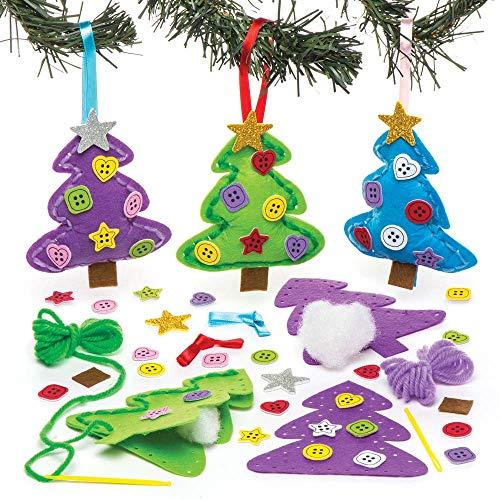Baker ross kit decorativi da cucito con alberi di natale (confezione da 3) per creazioni fai da te e decorazioni natalizie per bambini