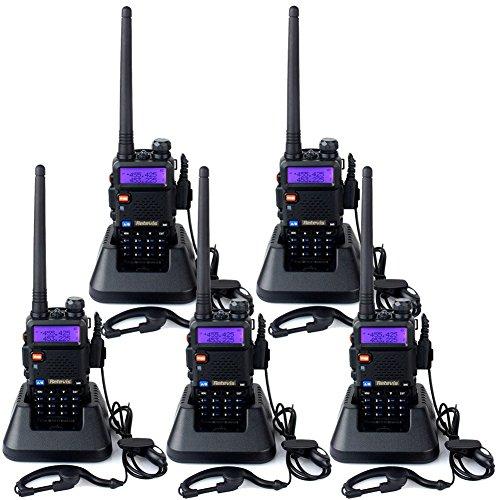 Retevis RT5R Talkies Walkies Rechargeables Radio VHF UHF Double Réception 128 Canaux 5W Vox Scan Alarme Radio FM LCD Lampe de Torche pour Excursion Randonnée Escalade (Noir, 5 Pcs)