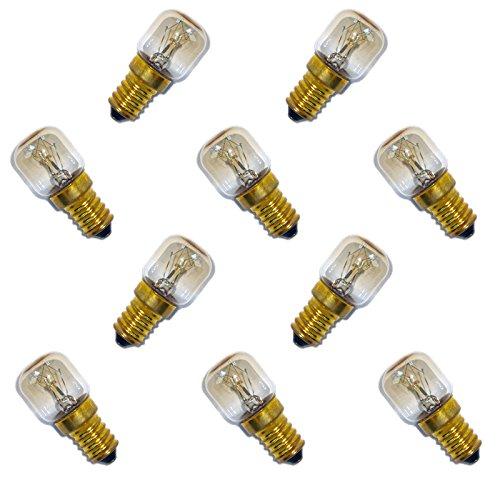 10 x Backofenlampe 300° 25W E14 klar Glühbirne Glühlampe Nähmaschine Salzstein Salzlampe PYGMY T26 Röhre warmweiß dimmbar 25 Watt -