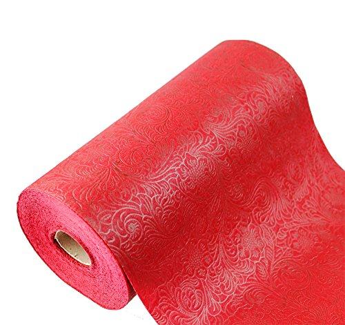 Tischläufer 25 m Hochzeit Taufe Konfirmation Kommunion Tischband 30cm (0,8€/m) (dunkel rot)