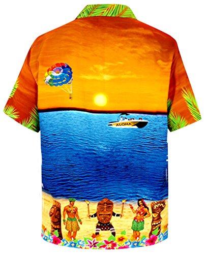 LA LEELA Shirt Camicia Hawaiana Uomo XS - 5XL Manica Corta Hawaii Tasca-Frontale Stampa Hawaiano Casuale Regular Fit AranciaDRT051 arancia