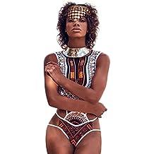 SHOBDW Traje De Baño Mujer Verano 2019 Moda Mujer Africano De Impresión Vintage Estilo étnico Conjunto