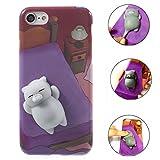 iPhone X Stress Kombination Fall, liqucase 3D Squishy TPU Fall mit weichem Silikon Cute Animal Squeeze Stress Kombination Handy-Cover für iPhone X 2017 Cat Purple iPhone X