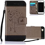 iPhone 7 Fold Wallet Case Grey and Black, Aeeque Ultra Thin Premium PU Leather Bookstyle Kickstand Feature with Hand Strap Phone Case Protection for iPhone 7 2016 4.7 inch - Pretty Girls Tree