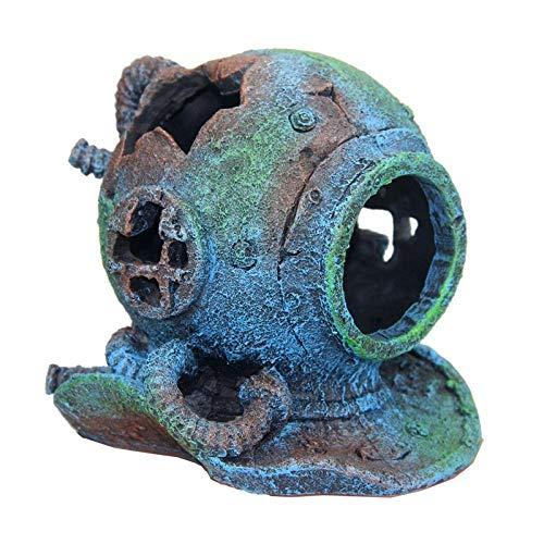 YAOHEHUA Aquariumdekor Steine Ornamente für Aquarien Wrack des Taucherhelms kleine Fische die durch das Tierheim Laufen Aquariumdekoration 14 * 13 * 14cm