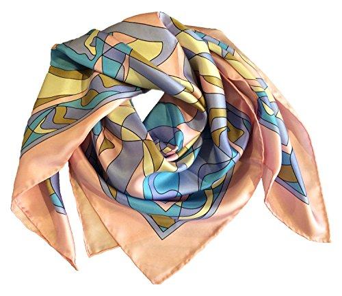 Foulard en 100% pur satin de soie, 90x90cm, Motif géométrique, Fabriqué en Italie Rose