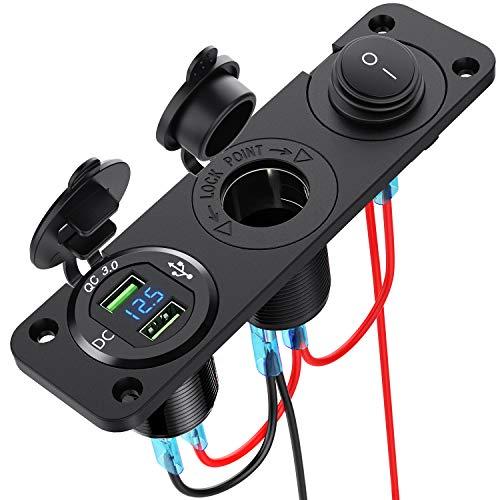CHGeek Auto USB Steckdose,Dual Quick Charge 3.0 USB Steckdose mit LED Digital Voltmeter,Metall 250W Wasserdichte12V Auto Zigarettenanzünder mit Stromschalter für Motorrad, Wohnwagen, LKW und mehr.