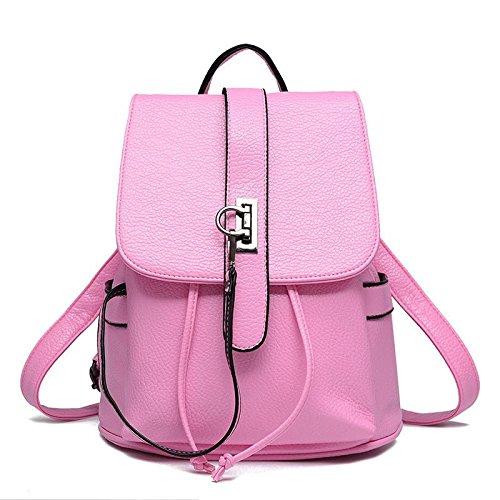 HQYSS Borse donna PU cuoio coreano Casual sezione verticale in rilievo tinta unita zaino donna Tote Bag , white pink