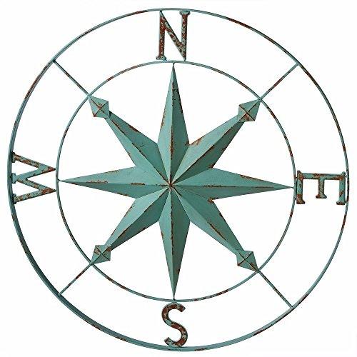 Midwest-CBK Nautisches Aqua Blau Mauer Rose Kompass-30-in -