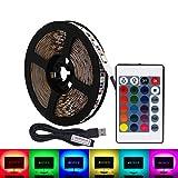 USB RGB LED tira de luz,5V 5 metros 300leds 5050 Tira de luz suave coloreada,colorido Luz de fondo de TV con 24 teclas de control remoto IR, DIY Decoración de fiesta Iluminación-No impermeable