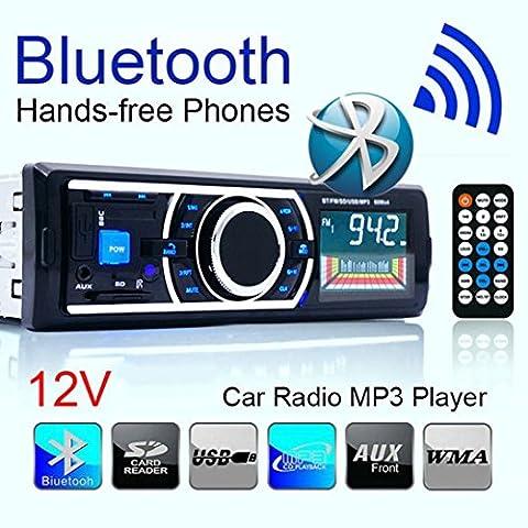 JACKY Bluetooth Car Stereo Audio In-Dash FM Aux Input Receiver SD USB MP3 Radio Play