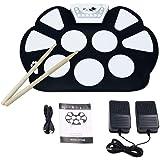 VTOP Tambour Batterie Electronique de 9-Pad - Drum Pad Kit de Practice Instrument - Pad de Percussion d'Entraînement pour Les Enfants et Les Amateurs avec Baguettes et Pédales