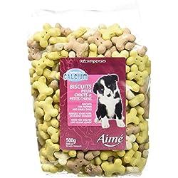 AIME Biscuits pour Chiot - Friandises pour Chien Sous Forme de Mi Os - Contient Calcium - Sac de 500G